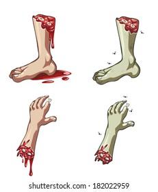 Cartoon vector severed hands and legs