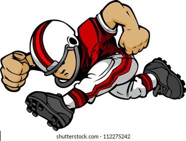 Cartoon Vector Silhouette Of A Boy Football Player Rushing