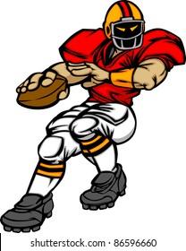 Cartoon Vector Silhouette of a Cartoon Football Player Throwing Ball