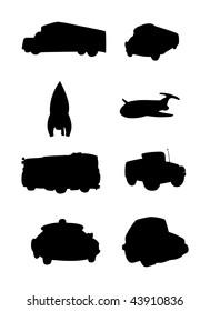 cartoon vector silhouette illustrations transportation