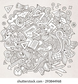 Cartoon vector sketchy doodles hand drawn school education background