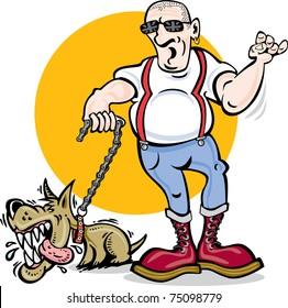 Cartoon vector of skinhead and mad dog / Skinhead & Dog