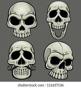 Cartoon Vector Skull Collection