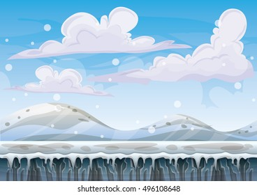 cartoon vector snow landscape background with separated layers for game and animation design asset in 2d graphic