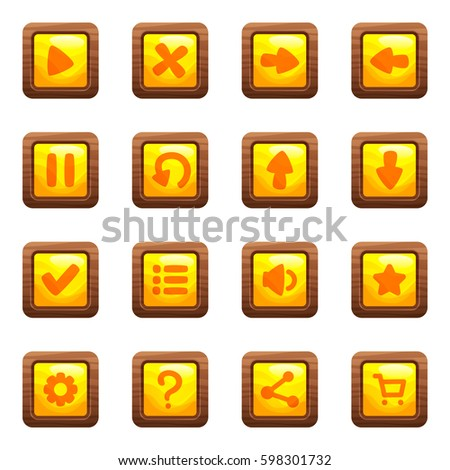 a4f63fa0411 Cartoon vector square buttons set with yellow middles and icons in wooden  frame