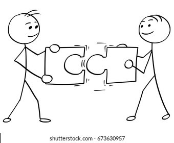Cartoon vector stick man stickman drawing of two smiling men , each one holding a large jigsaw puzzle piece, trying to connect them together.