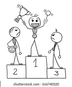 Cartoon vector stick man three males standing on the winners' podium rostrum, winner is enjoying and celebrating, losers are watching him in anger