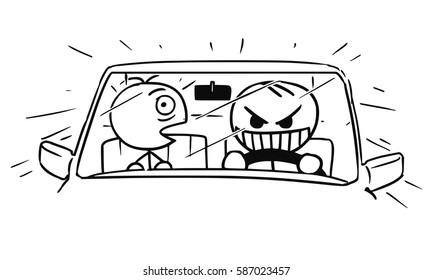 Cartoon vector stickman, crazy driver is dangerous driving the car, front seat passenger is very scared.
