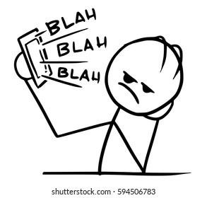 Cartoon vector stickman man tired and bored of long boring phone call, it say blah