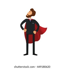 Cartoon vector superhero bisinessman. Successful manager isolated on white background