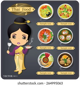 cartoon vector thai chef girl in thai dress & thai food menu