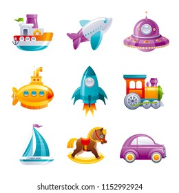 Cartoon сute vector toy transport set for boys, isolated on white background. 3d realistic baby toys set. Cartoon rocket train  car yacht UFO yellow submarine horse plane. Retro emblem, flat sign