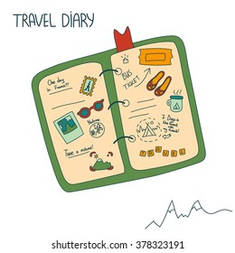 Cartoon vector travel diary with handwritten notes on the isolated background