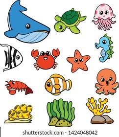 Cartoon Vector Underwater Sea Creature