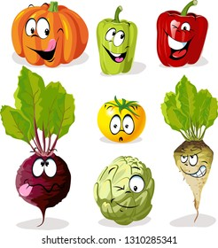 Cartoon Vegetable Character With Funny Faces - Vector Illustration