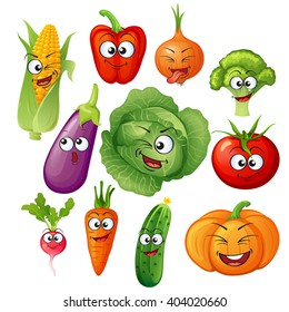 Cartoon vegetable characters. Vegetable emoticons. Cucumber, tomato, broccoli, eggplant, cabbage, peppers, carrots, onions, pumpkin, radish, corn
