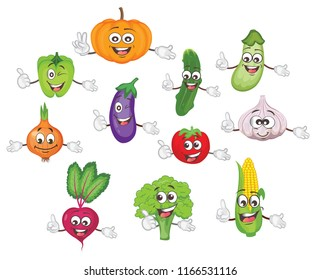 cartoon vegetable characters set.vector illustration.