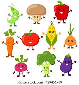 Cartoon vegetable characters. Tomato, broccoli, eggplant, peppers, carrots, onion, radish, corn, peas, champignon