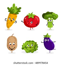 Cartoon vegetable cute characters face isolated on white background vector illustration. Funny vegetable face icon vector collection. Cartoon face food emoji. Vegetable emoticon. Funny food concept.