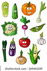 Cartoon vegetables characters with tomato, onion, eggplant, corn, cabbage, pumpkin, pea asparagusgarlic radish cauliflower and zucchini