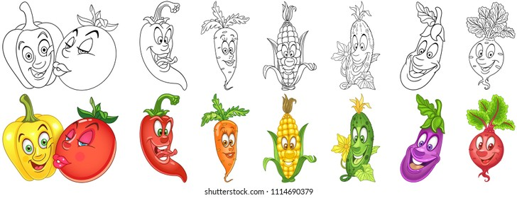 Cartoon Vegetables Collection. Coloring pages and colorful designs for coloring book, t-shirt print, icon, logo, label, patch, sticker. Vector illustrations.