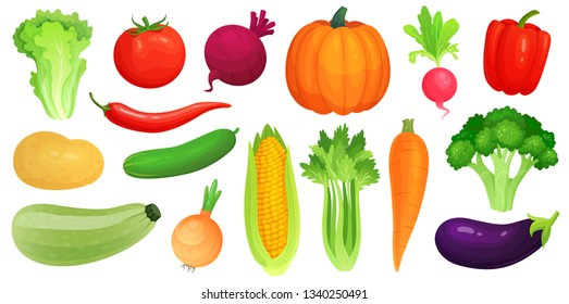 Cartoon vegetables. Fresh vegan veggies, raw vegetable green zucchini and celery. Lettuce, tomato and carrot. Vegetables food, gardening pumpkin and broccoli. Vector illustration isolated icons set