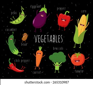 Cartoon vegetables illustration on black. Vector cartoon. Friends forever. ?omic characters.