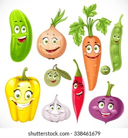 Cartoon vegetables smile garlic, hot peppers, carrots, beets, onions, cucumber