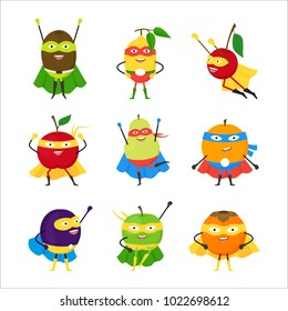 Cartoon Vegetables Superhero Characters Icon Set Vegetarian Superpower Concept Element Flat Design Style. Vector illustration of Icon Vegetable