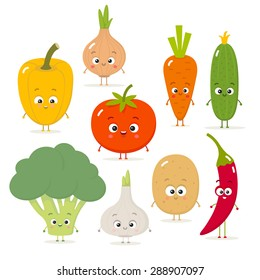 Cartoon vegetables vector set in flat style. Onion, carrot, cucumber, paprika, tomato, pepper, broccoli, garlic, potato