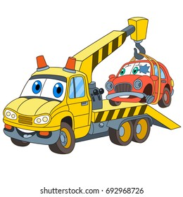 Cartoon vehicle transport. Tow truck (evacuator) with a broken car, isolated on white background. Colorful book page design for kids and children.