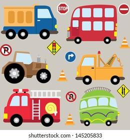 Cartoon  Vehicles, transport set
