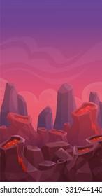 Cartoon vertical volcano landscape, nature background, prehistoric scene illustration