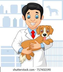 Cartoon veterinarian doctor examining a puppy