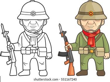 cartoon vietnamese soldiers prepared for battle