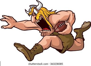 Cartoon Viking running with Football. Vector File. Running Viking