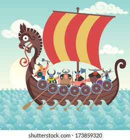 Cartoon Viking ship sailing.
