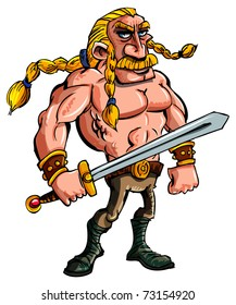 Cartoon Viking with a sword and braided blonde hair