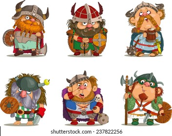 Cartoon vikings.                                                                           Funny cartoon. Characters. Vikings set. Isolated objects. Vector