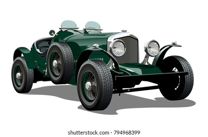 Cartoon vintage car. Available eps-10 vector format separated by groups with transparency effects for one-click repaint