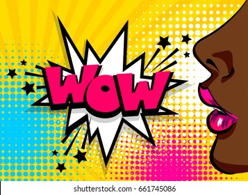 Cartoon vintage poster, colored black african american pop art girl speaking Speech bubble comic text WOW vector font illustration. Sale advertise banner Open sexy lips Wonder pop art woman style face