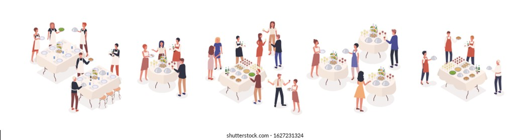 Cartoon visitors at social event isometric vector illustration. Corporate banquet party with celebration people and catering staff. Stand-up meal with guests isolated on white