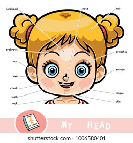 Cartoon visual dictionary for children about the human body. My head parts for a girl.