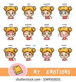 Cartoon visual dictionary for children. The human emotions. Color set of girl faces with different expressions