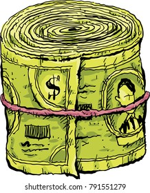 A cartoon wad of cash money in a roll, held together by an elastic.