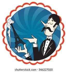 Cartoon Waiter with champagne tour Eiffel
