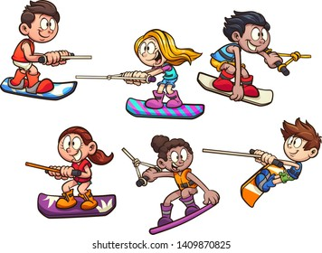 Cartoon wake boarding kids clip art. Vector illustration with simple gradients. Some elements on separate layers.