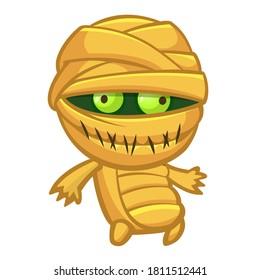 Cartoon walking mummy creature. Vector illustration of mummy monster for Halloween isolated