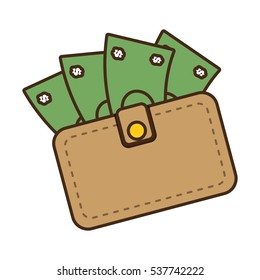 cartoon wallet bill money cash dollar vector illustration eps 10