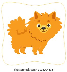 Cartoon wallking dog: pomeranian Spitz. Vector illustration. Isolated on white background.